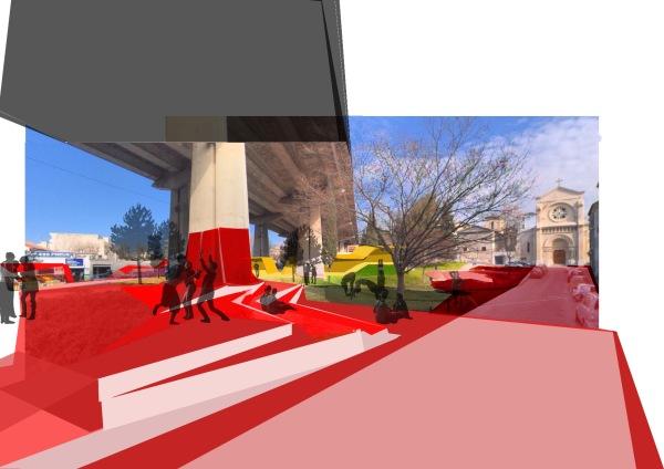Sous l'autoroute - photomontage